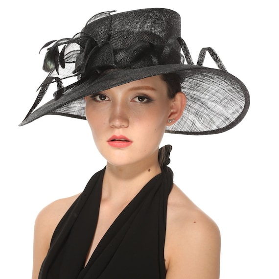 7ba14682b28 Black Kentucky Derby Hat Church Hat Wedding Hat Easter Hat