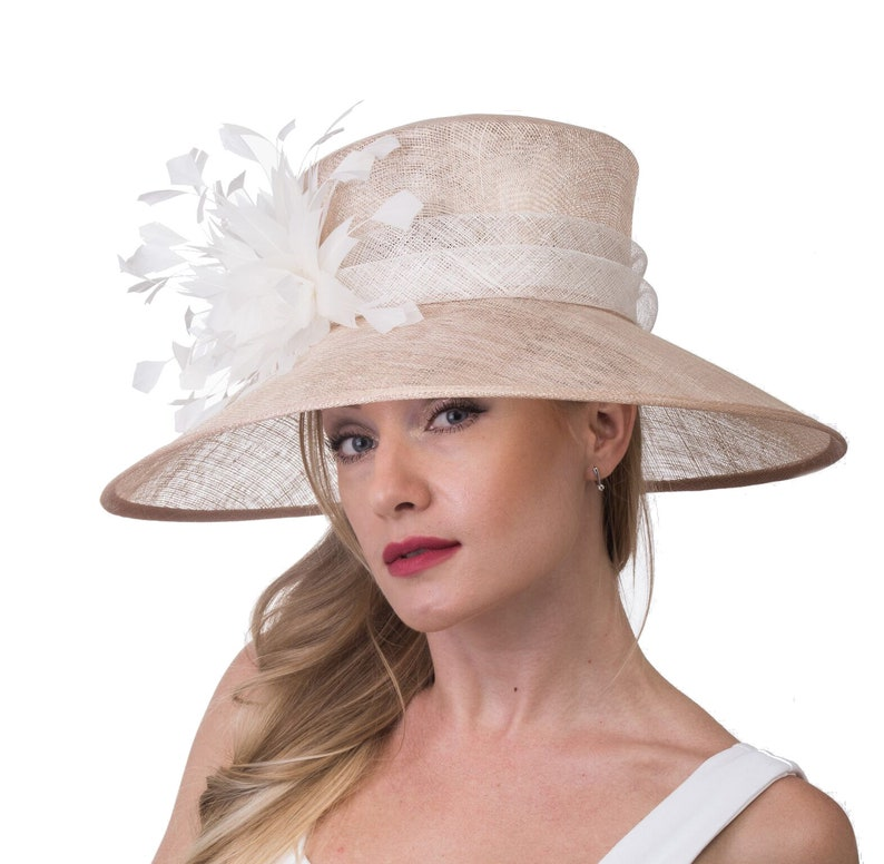 58b44543f Champagne with White Feathers Flowers Kentucky Derby Hat, Church Hat , Tea  Hat Wide Brim Sinamay Hat 7502