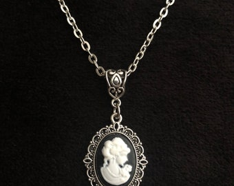 Victorian butterfly cameo,butterfly frame necklace,gothic flower cameo,cameo grey necklace,vintage cameo gothic pendant,lilly cabochon