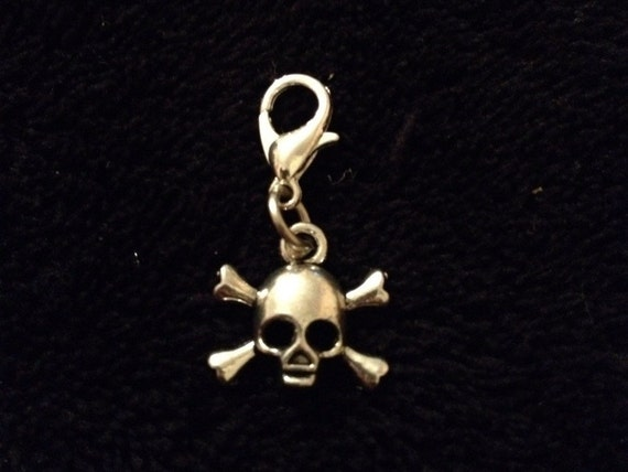 purse 80p UK P/&P Handmade 3D day if the dead skull bracelet charm clip silver sugar skull pendant clip for zips pets collar jewellery la