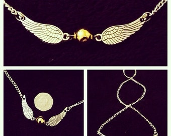 80p UK P&P handmade Snitch inspired Necklace on 20inch chain Tibetan silver Gold silver Wings Fan feather steampunk golden