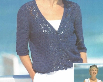 crochet summer cardigan and waistcoat for ladies vintage pattern PDF instant download