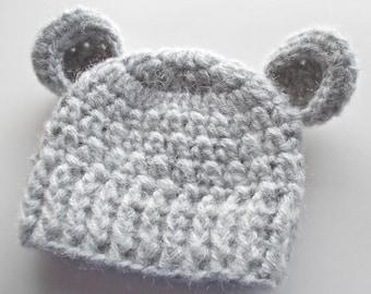 Bär Hut Grau Bär Hut Neugeborenen Mütze Mit Ohren Baby Junge Etsy