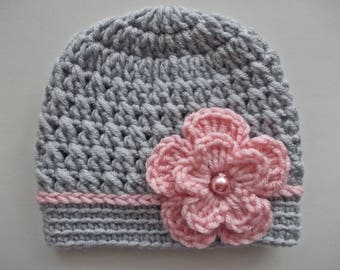 94fa28c1564 Baby girl hat Crochet baby hat Girl hospital hat Gray baby girl hat Newborn  girl beanie Baby girl outfit Newborn girl hat Newborn gray hat