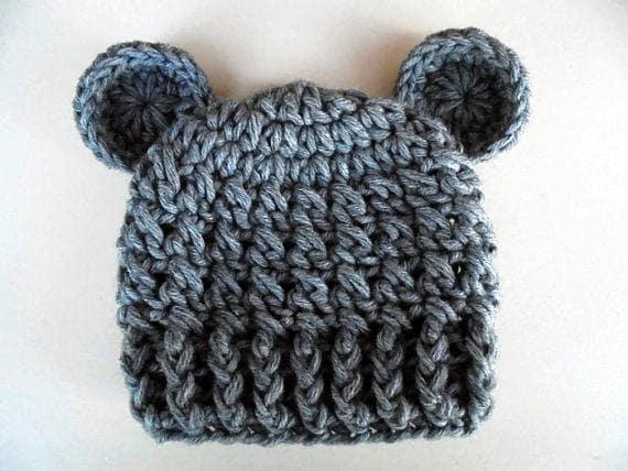 0e3db5d6ef5 Gray bear hat newborn bear hat baby boy hat teddy bear baby