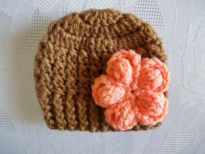 c4d1cc0d9dc Crochet baby hat Newborn girl hat Brown baby hat Baby girl hat