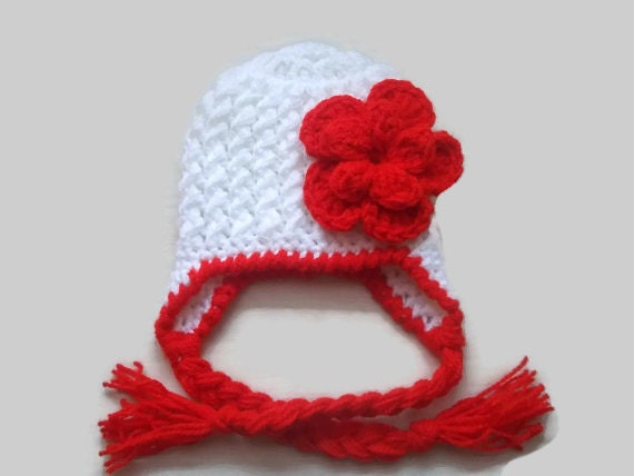 86e764d9c Girl earflap hat newborn girl hat crochet baby hat winter