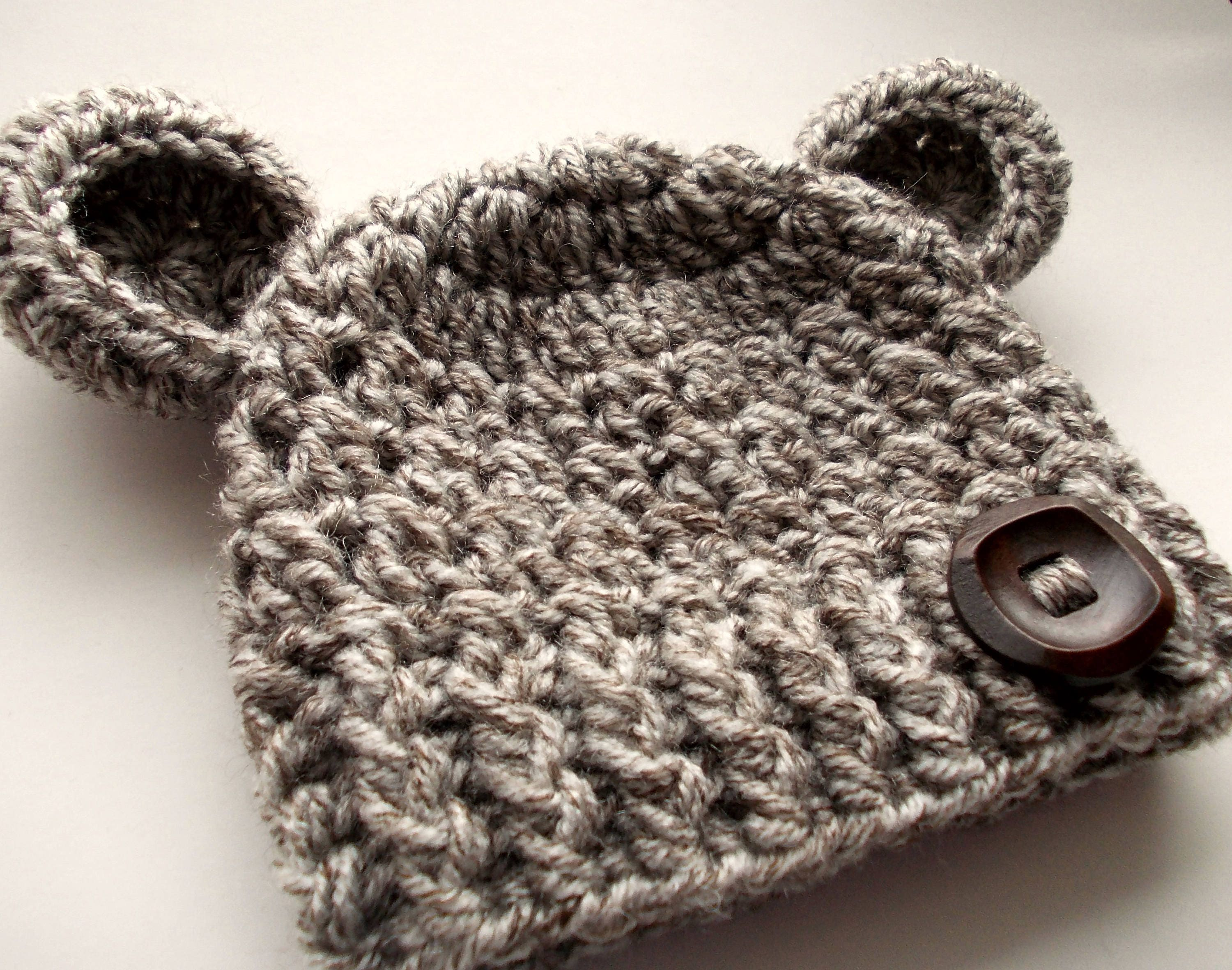 d172a15257e Wool bear hat Baby bear hat Baby hat with ears Newborn bear