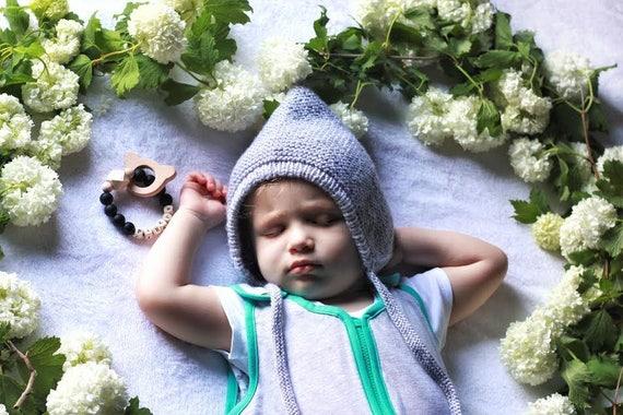 Strick elf Hut grau elf Motorhaube Baby Junge elf Hut | Etsy