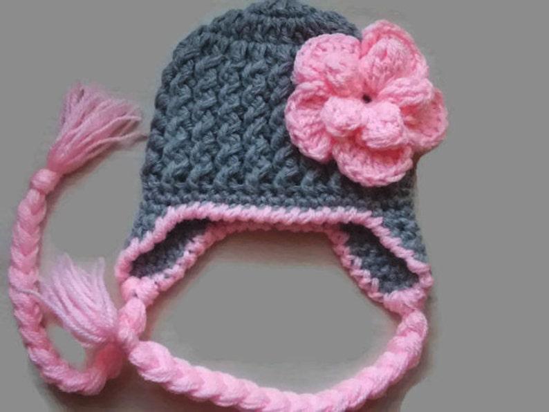 0f34ebe23d6 Crochet newborn hat girl earflap hat baby girl hat crochet