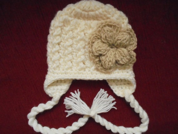 df487170912 Cream baby girl hat girls earflap hat newborn winter hat