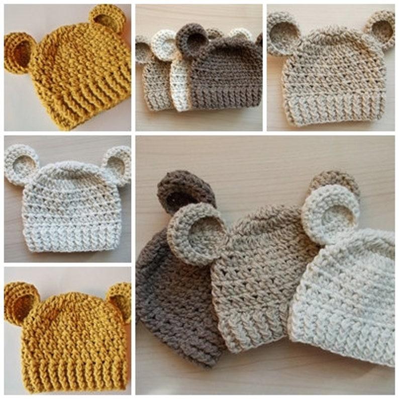 9d163440c63 Crochet bear hats Wool bear hats Newborn bear hats Crochet