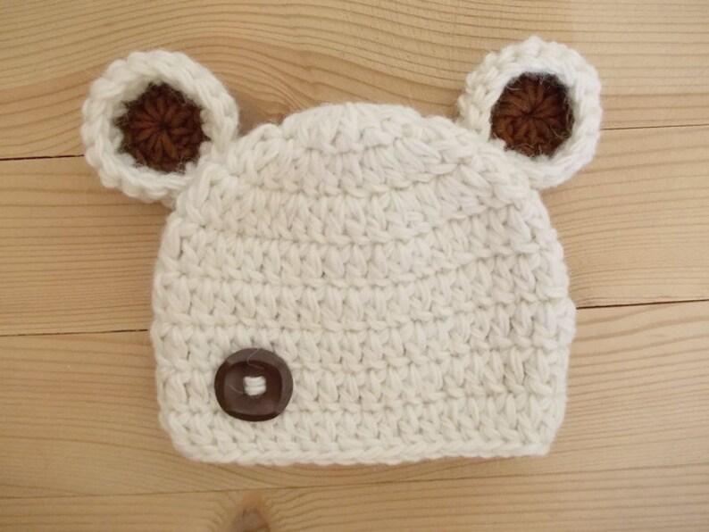 2128c231477 Baby bear hat Newborn bear hat Cream newborn hat Wool newborn