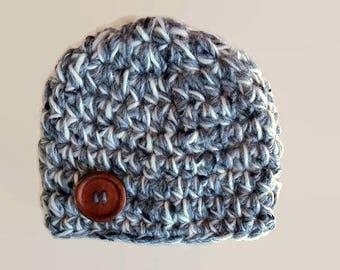 Crochet baby hat, newborn boy hat, baby boy hat, newborn boy beanie, newborn photo prop,  button baby hat,  baby boy outfit