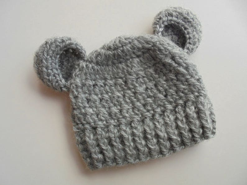 6760968c588 Baby bear hat Gray bear hat Baby animal hat Baby hat with ears