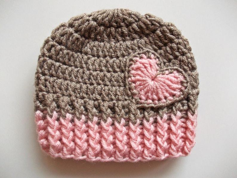 ae1e48df8f0 Crochet baby hat Baby girl hat Baby hat with heart Newborn