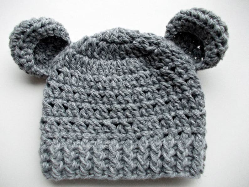 eeb88b08e Wool bear hat Gray bear hat Newborn hat with ears Baby boy hat Newborn bear  hat Wool baby hat Baby animal hat Gray baby hat Crochet baby hat