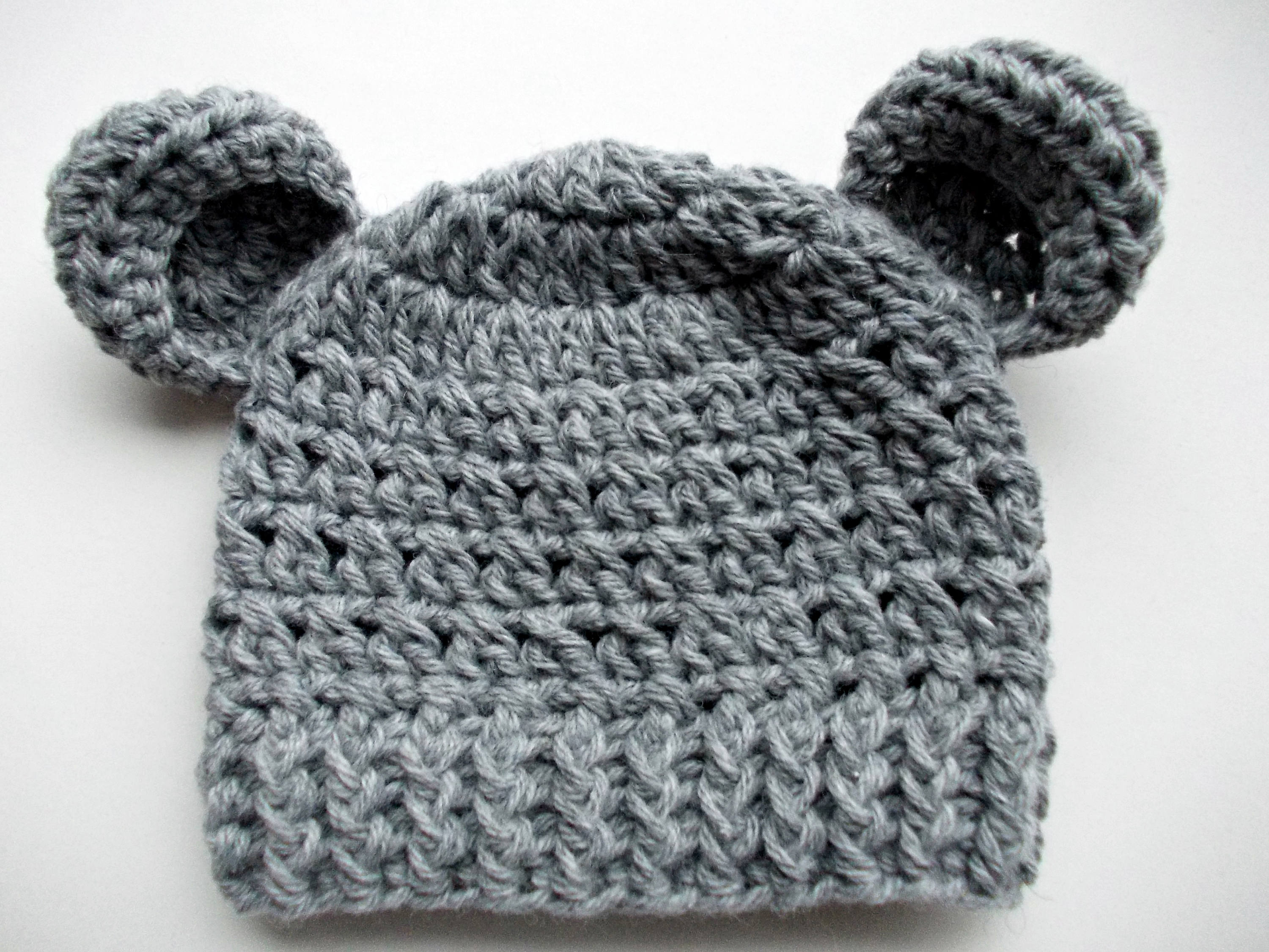 Wool bear hat Gray bear hat Newborn hat with ears Baby boy hat  7f206dba90e