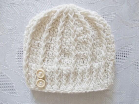 Creme Baby Hut Häkeln Neugeborenen Hut Wolle Baby Hut Etsy