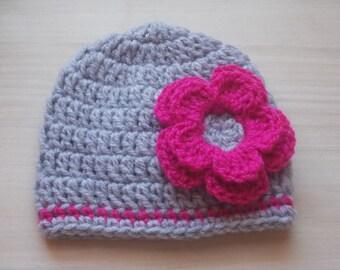 Crochet baby hat, newborn girl hat, baby girl beanie, infant girl hat, baby girl outfit, crochet newborn hat, baby girl hat, gray baby hat