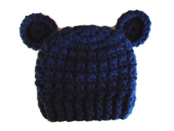 16297ac4148 Baby bear hat Navy bear hat Navy newborn hat Newborn boy hat