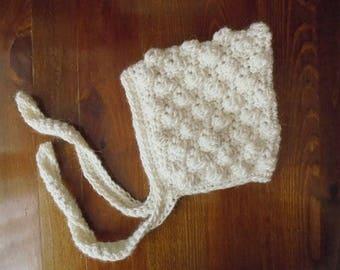 Wool baby hat Baby pixie bonnet Cream baby hat Winter baby bonnet Newborn pixie hat Newborn bonnet Crochet baby bonnet Wool pixie bonnet