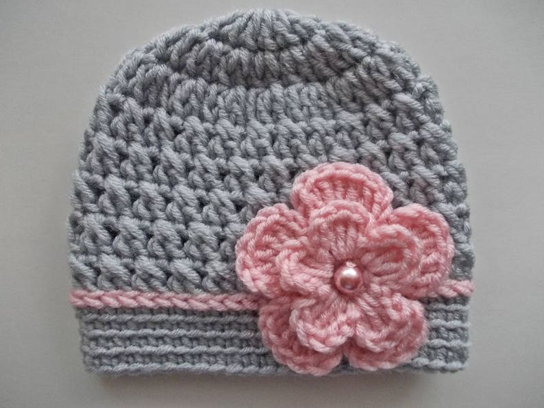 fce5a7c2067 Baby girl hat Crochet baby hat Girl hospital hat Gray baby
