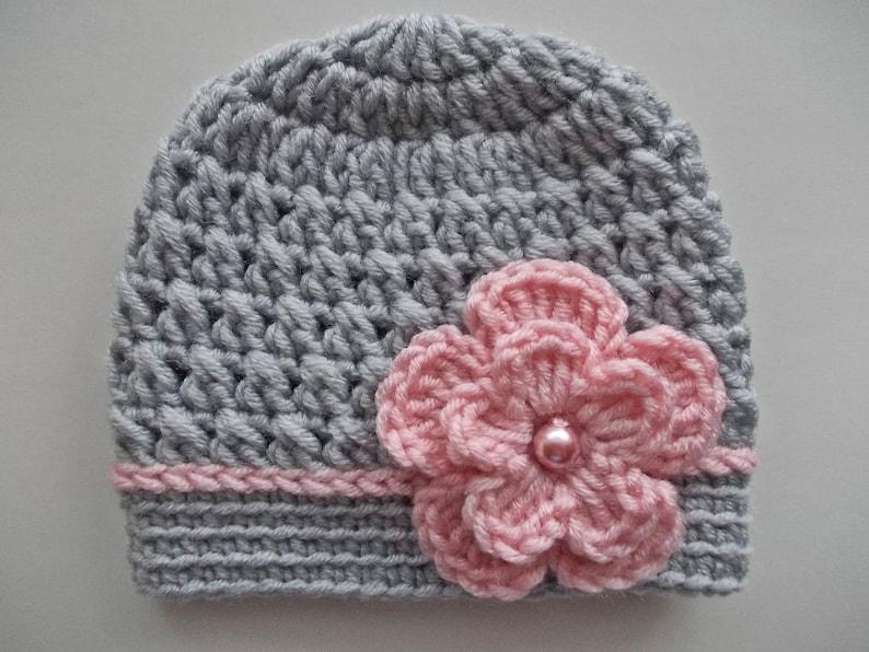 66aab570d26 Baby girl hat Crochet baby hat Girl hospital hat Gray baby