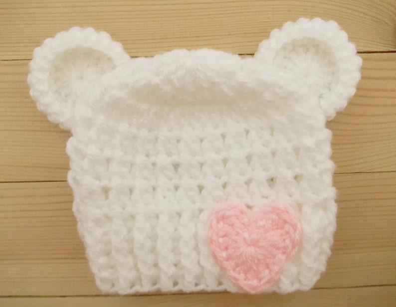 c1e11a106bd Crochet baby hat Newborn bear hat Baby girl bear hat White