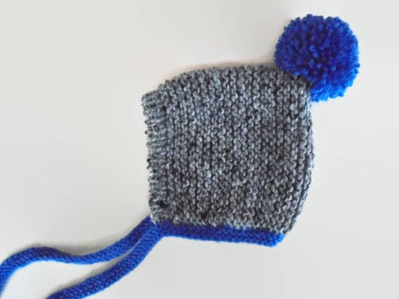 75be04e7953a Knit baby hat pom pom pixie hat knit pixie hat gray pixie