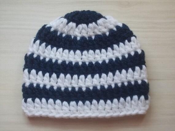 Navy Blau Babymütze Gestreifte Babymütze Häkeln Junge Hut Etsy
