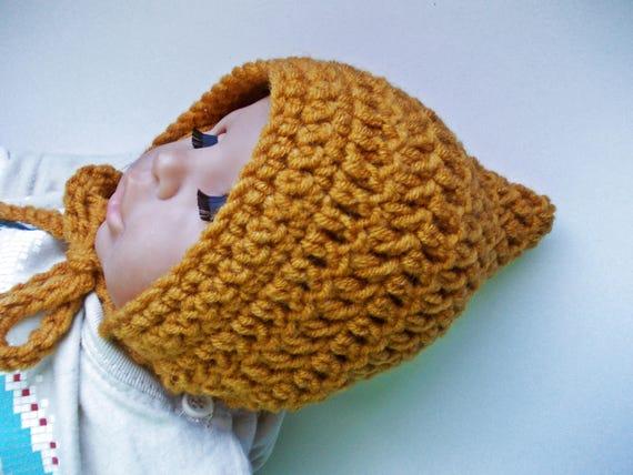 Wolle Elf Mütze Senf Gelben Hut Einfach Baby Mütze Häkeln Baby Etsy