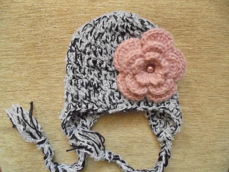 116a5ca3d01 Crochet earflap hat Baby girl hat Wool baby hat Baby girl