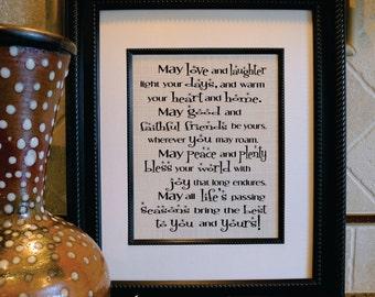 Irish Blessing, May Love and Laughter Light your Days, St. Patrick's print, Irish Saying or Quote, Irish Framed Wall Art, Ireland (sa129b)