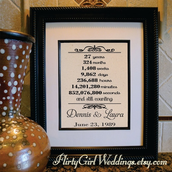 27th Wedding Anniversary 27th Anniversary Gift For Wife Etsy