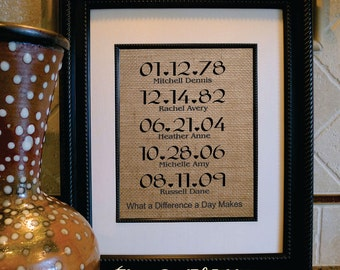 What A Difference A Day Makes Burlap Print / Most Important Days / Custom Family Print / Anniversary / Personalized Family Name Sign(ld109a)