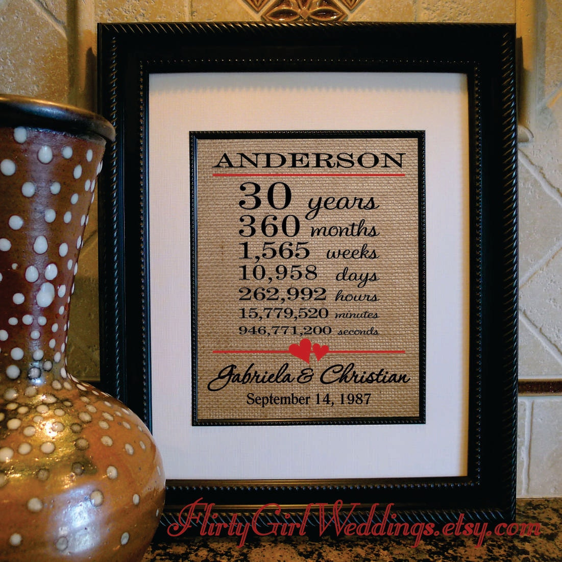 What Is The 30th Wedding Anniversary Gift: 30th Wedding Anniversary Burlap Print 30th Anniversary