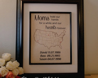Mom's Blessings - Children's Name and Locations on US Map - Cotton Mother's Day Gift - Mom's Birthday (ma101a)