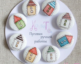 Fabric Button Houses