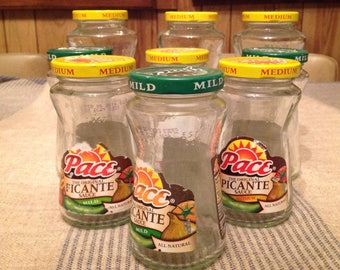 Farmhouse Decor Craft Pace Jars With Labels Mixed Sizes Up cycle Reuse  Lot of 7 As Pictured