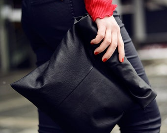 Black leather clutch | Recycled leather bag | Large leather pouch | Oversized clutch bag | Lunch bag | Rolled bag | Upcycled bag