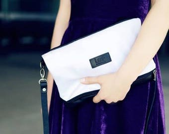 Silver Shoulder Clutch / Oversized Fold over Clutch / Leather Crossbody Clutch / Convertible Clutch / Shining bag