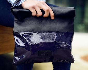 Dark aubergine leather clutch bag, Purple leather bag, Purple Large leather pouch, Purple oversized clutch bag, Bridesmaid purple clutch