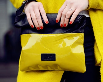 Mustard Yellow leather clutch bag, Upcycled Mustard leather bag, Large mustard yellow leather pouch, Oversized yellow clutch bag, Gift her