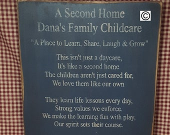 A second home for the Daycare provider, Mission Statement,  Business Sign, Primitive Sign, Wood Sign, Daycare Sign, Childcare,