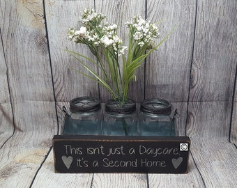 A Second Home, Daycare Sign, Thank You to Daycare, Kids, Small Sign, Primitive Sign, Wood Sign, Personalized, Heart, Daycare Provider