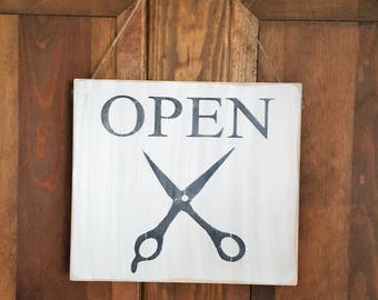 Open/Closed Sign, Stylist Sign, Barber Shop, Hairdresser, Business Sign, Scissors, Haircut, Wood Sign, Two Sided Sign, Jute, Country Sign