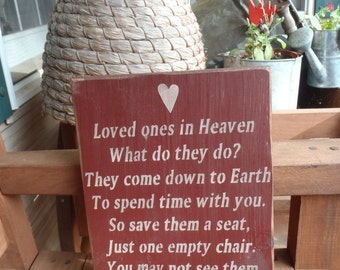 Loved Ones in Heaven, Sympathy Sign, Condolence Sign, In memory of, Primitive Sign, Family Sign, Wood Sign, Rustic Sign, Country Sign,