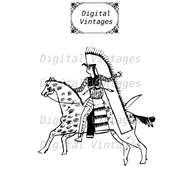 Nativo americano dibujo caballo caballo Ilustración Vintage   Etsy