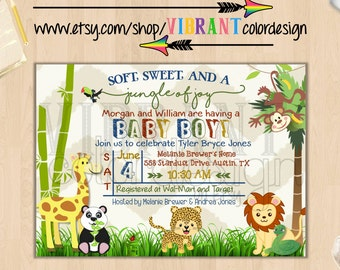 Zoo Baby Shower Invitation, Jungle Theme Baby Shower Invites,Baby Boy Shower Invite,Gender Neutral Baby Shower Invitation,Animal Baby Shower